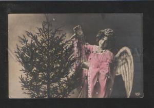 073095 Winged Lady as X-MAS ANGEL w/ CLOWN Toy Vintage PHOTO
