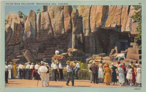 Polar Bear Enclosure, Brookfield Zoo, Chicago, IL, Early Linen Postcard, Unused