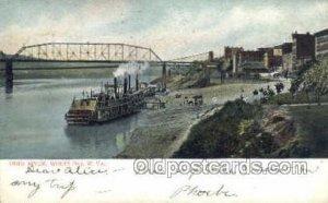 Ohio River Wheeling, West Viginia, USA Ferry Boats, Ship 1908 crease right bo...