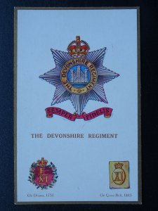 Regimental Badge THE DEVONSHIRE REGIMENT c1915 Postcard Gale & Polden 1665