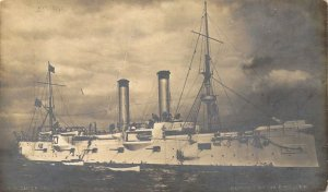 c.1890s U.S. Navy,  Rotograph,  Real Photo of First USS Chicago, Old Postcard