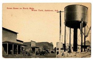 Ashdown Arkansas Postcard North Main Street Horse Drawn Wagons Water Tank #75033