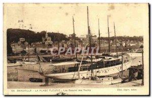 Old Postcard Deauville Beach Fleurie The Basin Yachts