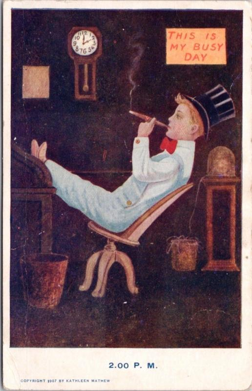 Day In Boy's Life 'This I My Busy Day' 2pm Cigar Kathleen Mathew Postcard E30