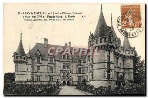 Old Postcard Azay le Rideau Chateau National Northern Facade L'Entree
