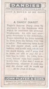 Cigarette Card Player's Dandies No 11 Samuel Pepys