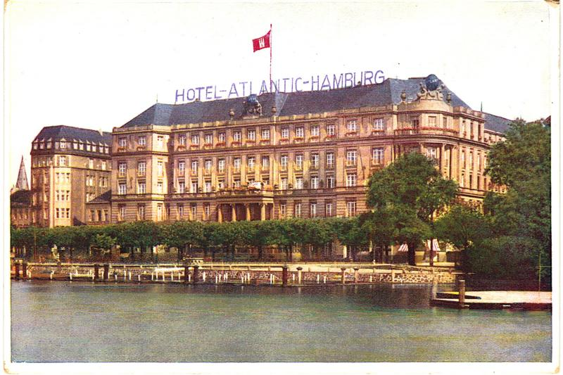 Postcard Germany Hotel Atlantic Hamburg DB Era