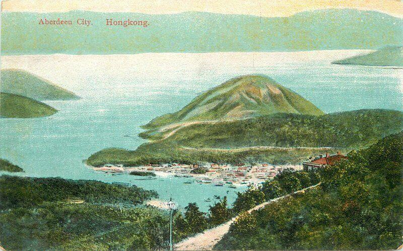 Aberdeen City Aerial Hong Kong C-1910 Postcard Sternberg 5573