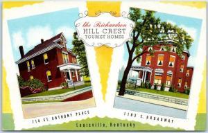 Louisville, Kentucky Postcard HILL CREST TOURIST HOMES Boarding Houses Linen