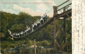 Starved Rock IL~Men in White Shirts Crowd Suspension Bridge At Deer Park~1906