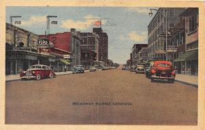 B59/ Billings Montana Mt Postcard 1952 Linen Broadway Autos Fur Store