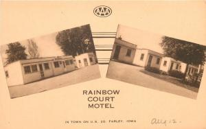 Farley Iowa~Rainbow Court Motel~Cottages~1940s Sepia Artvue Postcard