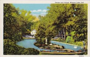 Indiana Winona Lake Swans and Island Curteich