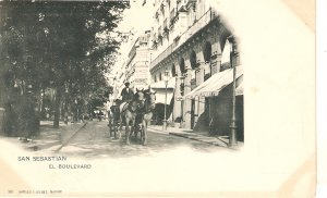 San Sebastian, Spain. The Boulevard. Cart Horses Old vintage Spanish PC