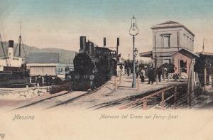 Messina Manovra Del Treno Aul Ferry Boat Train Antique Italian Postcard