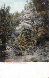 North Utica Illinois~Starved Rock State Park-Devils Pulpit~Men on Ledge~c1905 PC