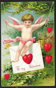 To My Valentine Cupid On Swing Of Valentine Card Used c1910