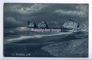 h1820 - Isle of Wight , The Needles under a Full Moon at Alum Bay - Postcard