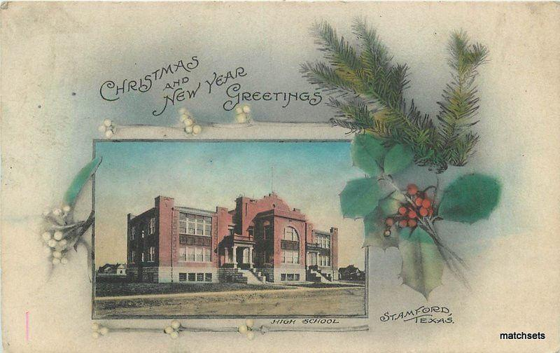 C-1908 hand colored High School Stamford Texas postcard 6214