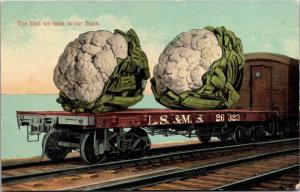 Comic Exaggeration, Carload of Cauliflower Vintage Postcard K09