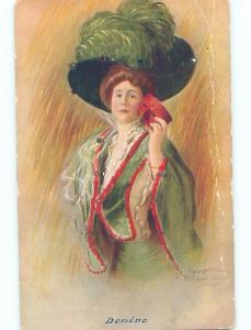Bent 1906 art nouveau WOMAN REMOVES HER MASK AT MASQUERADE BALL o9922
