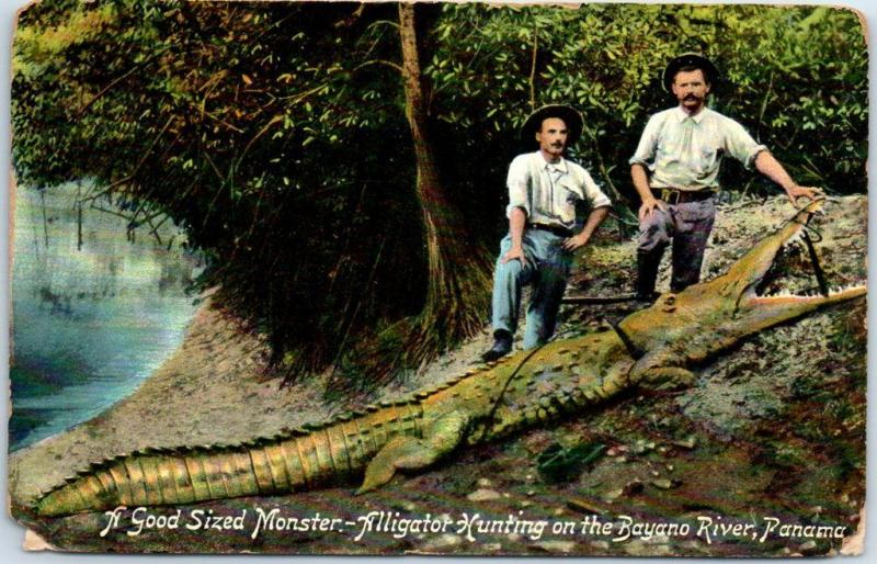 Vintage Panama Postcard Alligator Hunting on the Bayano River c1910s Unused