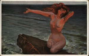 Nude Woman Mermaid Fantasy SCHMUTZLER Flame of Love c1910 Postcard