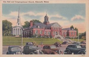 Massachusetts Ellsworth City Hall and Congregational Church