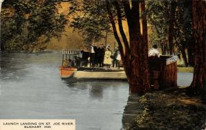 Elkhart Indiana~St Joe River~Excursion Launch Landing~Man in Booth~1908 Postcard