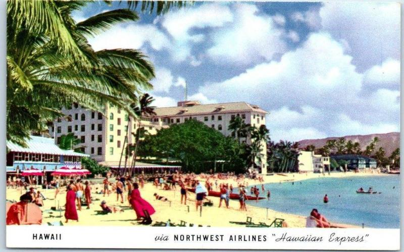 1950s NORTHWEST AIRLINES Advertising Postcard Honolulu Waikiki Beach View Unused