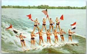 1960s Vintage CYPRESS GARDENS, Florida Postcard Water-Skiing Pyramid Show Scene