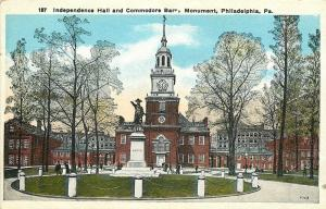 Philadelphia Pennsylvania~Independence Hall~Commodore Monument~1920s Postcard