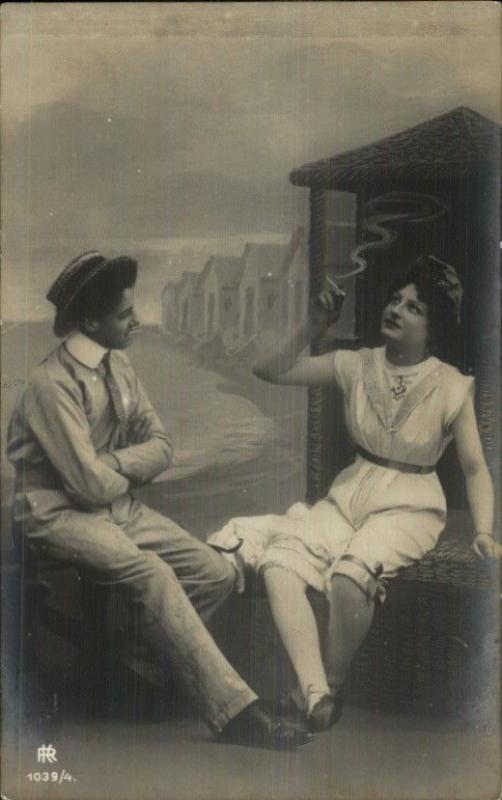 Romance Bathing Beauty Smoking Cigarette & Flirting w/ Man c1910 RPPC