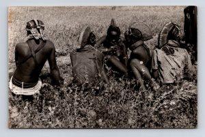 Postcard Africa Angola? Native Group Traditional Head Dress RPPC Real Photo  ...