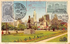Brazil S. Paulo, Vista Parcial statue monument 1954