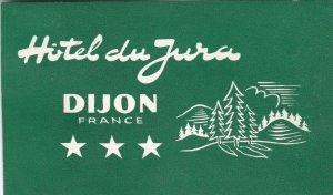 France Dijon Hotel Du Jura Vintage Luggage Label sk1058