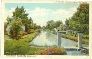 Irrigation Canal & Head Gate, Lower Rio Grande Valley, Texas, TX, Linen