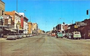 Sheridan WY Street View Store Fronts Old Cars Postcard