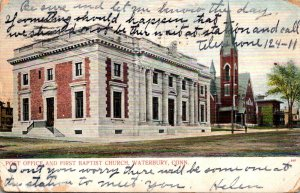 Connecticut Waterbury Post Office and First Baptist Church 1913
