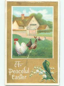 Pre-Linen easter CHICKENS WITH LILY OF VALLEY FLOWERS k2575