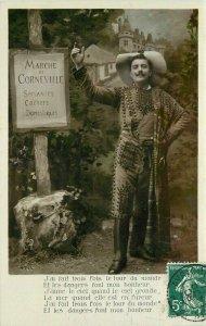 Corneville France Flamboyant Dressed Man1908 Postcard 21-2719