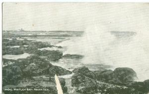 Whitley Bay, Rough Sea, old used Postcard