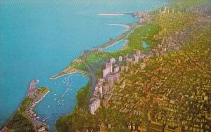 Illinois Chicago Airview Of Chicagos Lake Front From Belmont Harbor