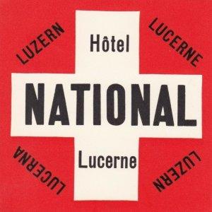 Switzerland Lucerne Hotel National Vintage Luggage Label sk4195