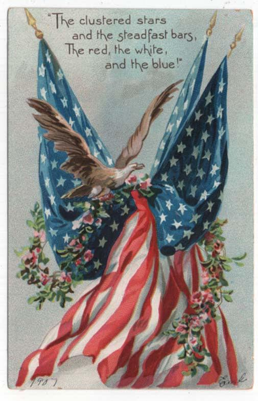 Early Decoration/Memorial Day Post Card, Eagle, Flags, Flowers Raphael Tuck 1907