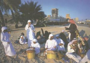 Arabic Street Musicians In Dubai Saudi Arabia Large Postcard