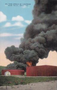 Oklahoma Tulsa Oil Tank Struck By Lightning On Fire Curteich