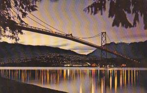 Canada British Columbia Vancouver Lions Gate Bridge At Dusk