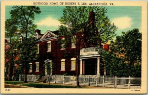 1940s Alexandria, VA Postcard BOYHOOD HOME OF ROBERT E. LEE Mansion View Linen