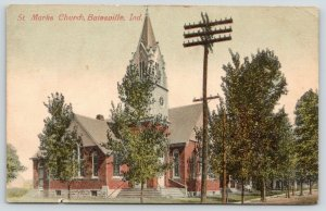 Batesville Indiana~St Mark's Evangelical Lutheran Church On Corner~Trees~1912 PC